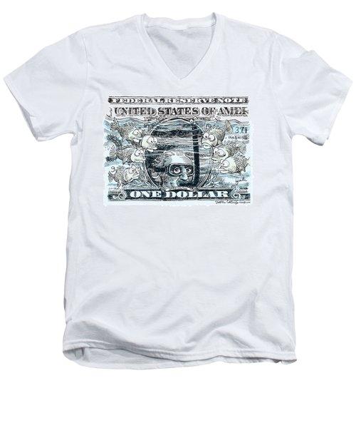 Dollar Submerged Men's V-Neck T-Shirt