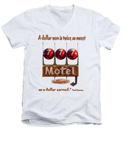 Dollar Won Men's V-Neck T-Shirt by Rick Mosher