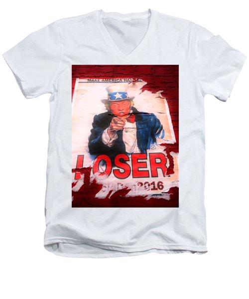 Donald Trump Loser Or Winner  Men's V-Neck T-Shirt by Funkpix Photo Hunter