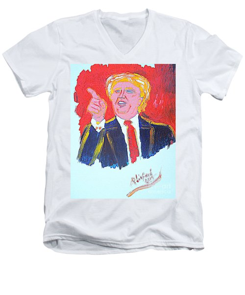 Men's V-Neck T-Shirt featuring the painting Donald Trump You Are Great America Is Great  by Richard W Linford