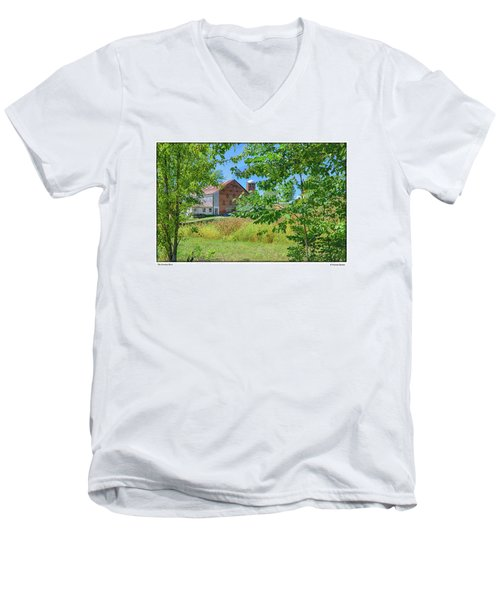 Men's V-Neck T-Shirt featuring the photograph Donkey Barn by R Thomas Berner