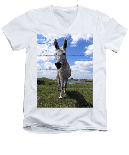 Men's V-Neck T-Shirt featuring the photograph Don't Fence Me In 000  by Chris Mercer