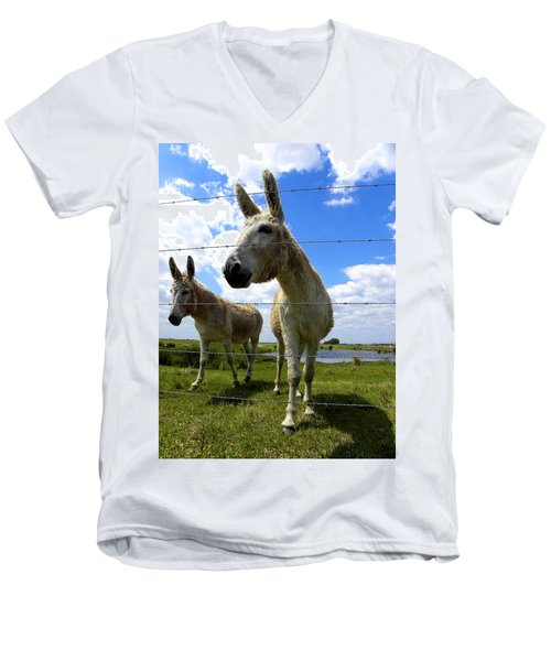 Men's V-Neck T-Shirt featuring the photograph Don't Fence Me In 001 by Chris Mercer