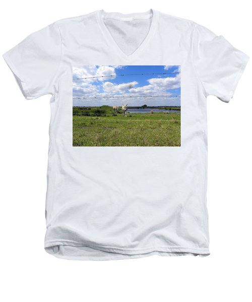 Men's V-Neck T-Shirt featuring the photograph Don't Fence Me In by Chris Mercer
