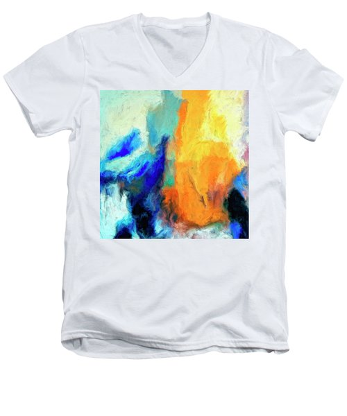 Men's V-Neck T-Shirt featuring the painting Don't Look Down by Dominic Piperata