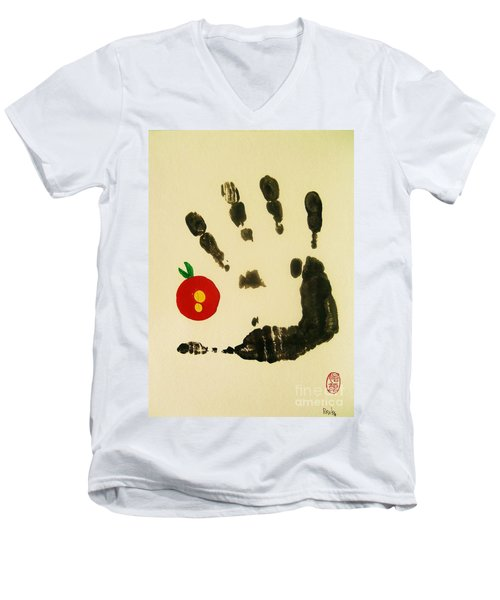 Men's V-Neck T-Shirt featuring the painting Don't Touch Me by Roberto Prusso