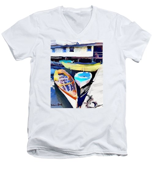 Dory Dock At Beacon Marine Basin - East Gloucester, Ma Men's V-Neck T-Shirt
