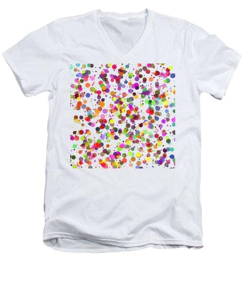 Dots Men's V-Neck T-Shirt by Roger Lighterness