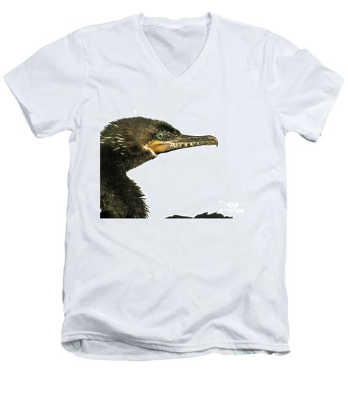 Double-crested Cormorant  Men's V-Neck T-Shirt by Robert Frederick