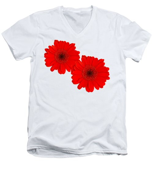 Double Gerbera Men's V-Neck T-Shirt by Scott Carruthers