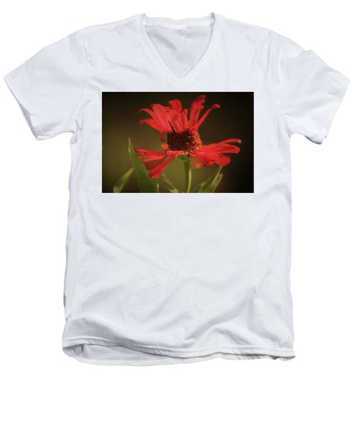 Men's V-Neck T-Shirt featuring the photograph Double Petals by Donna G Smith