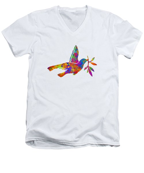 Dove With Olive Branch Men's V-Neck T-Shirt