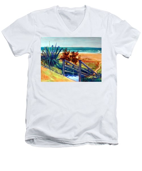Men's V-Neck T-Shirt featuring the painting Down The Stairs To The Beach by Winsome Gunning