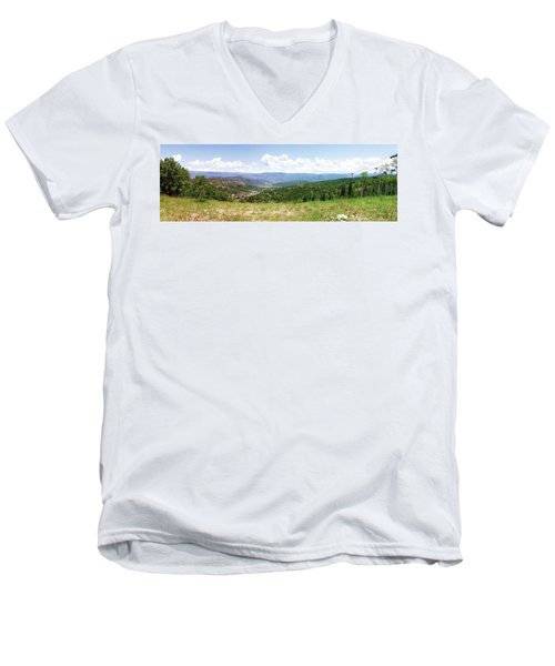 Down The Valley At Snowmass #2 Men's V-Neck T-Shirt by Jerry Battle