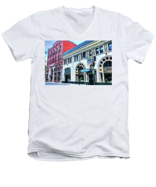 Downtown Asheville City Street Scene Painted  Men's V-Neck T-Shirt