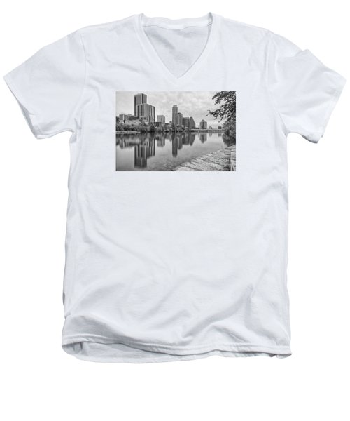 Downtown Austin In Black And White Across Lady Bird Lake - Colorado River Texas Hill Country Men's V-Neck T-Shirt by Silvio Ligutti