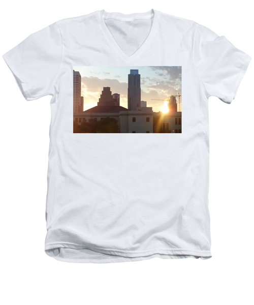 Downtown Austin Men's V-Neck T-Shirt by Karen J Shine