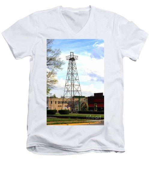 Downtown Gladewater Oil Derrick Men's V-Neck T-Shirt by Kathy  White