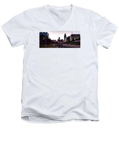 Downtown Omaha At Sunset Men's V-Neck T-Shirt
