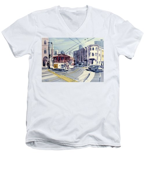 Downtown San Francisco Men's V-Neck T-Shirt by Donald Maier
