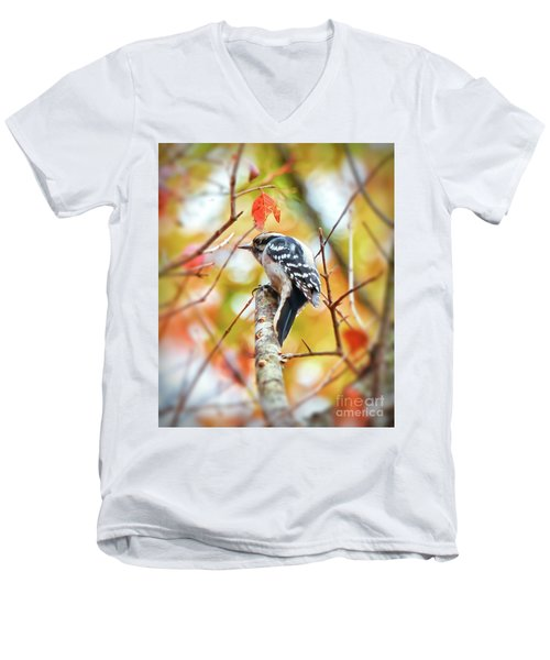 Downy Woodpecker In Autumn Forest Men's V-Neck T-Shirt