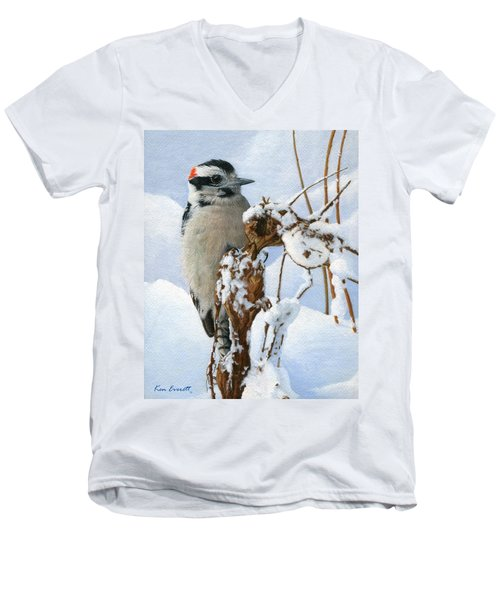 Downy Woodpecker  Men's V-Neck T-Shirt by Ken Everett