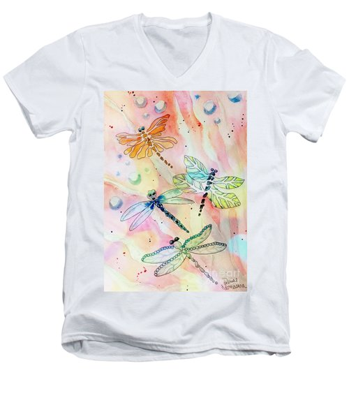 Men's V-Neck T-Shirt featuring the painting Dragon Diversity by Denise Tomasura