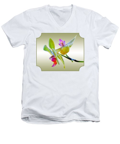 Dragon Glow Orchid Men's V-Neck T-Shirt by Gill Billington
