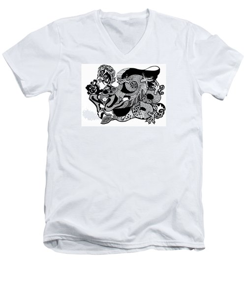 Dragon Lady Men's V-Neck T-Shirt by Yelena Tylkina