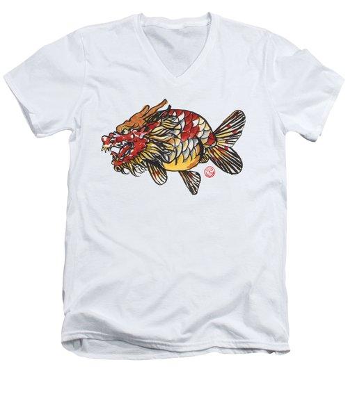 Dragon Ranchu Men's V-Neck T-Shirt by Shih Chang Yang