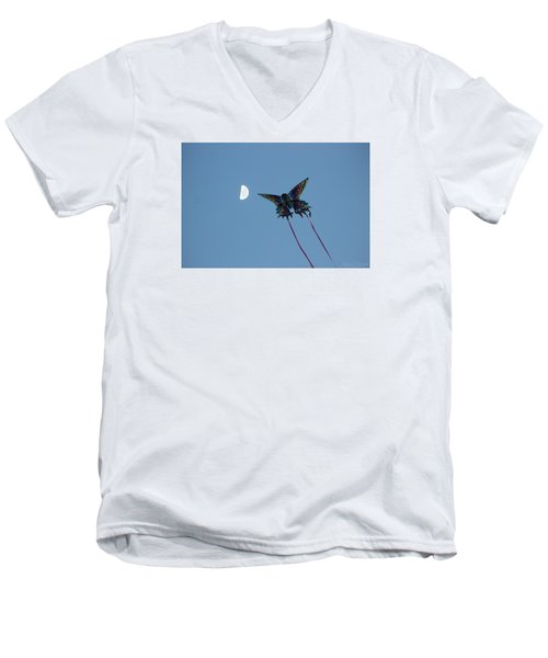Men's V-Neck T-Shirt featuring the photograph Dragonfly Chasing The Moon by Robert Banach