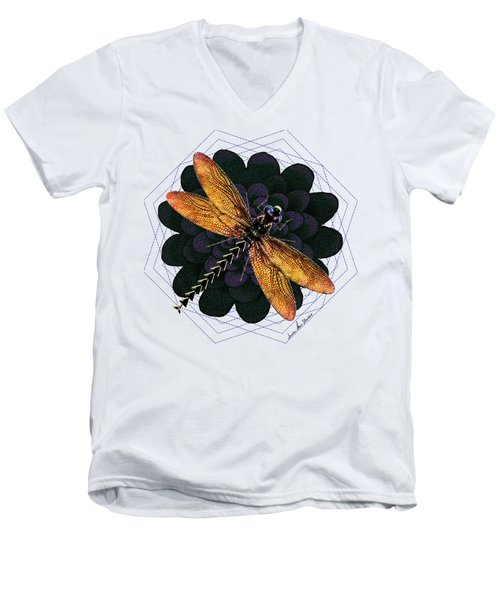 Dragonfly Snookum Men's V-Neck T-Shirt by Iowan Stone-Flowers