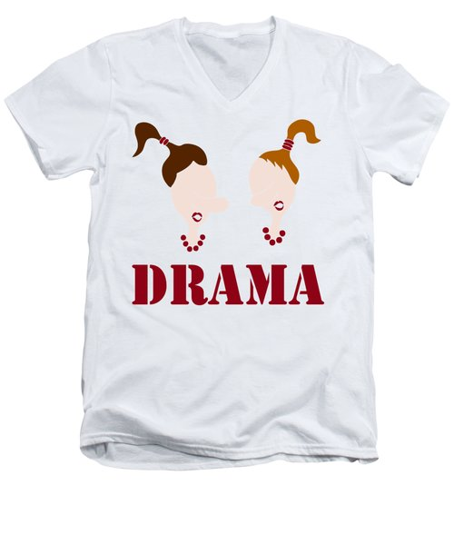Men's V-Neck T-Shirt featuring the painting Drama by Frank Tschakert