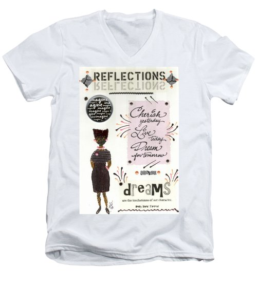 Men's V-Neck T-Shirt featuring the mixed media Dream For Tomorrow by Angela L Walker