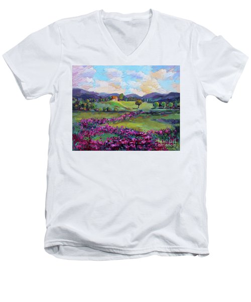 Men's V-Neck T-Shirt featuring the painting Dream In Color by Jennifer Beaudet