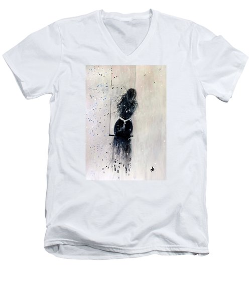 Men's V-Neck T-Shirt featuring the painting Dreams Come True.. 6 by Cristina Mihailescu