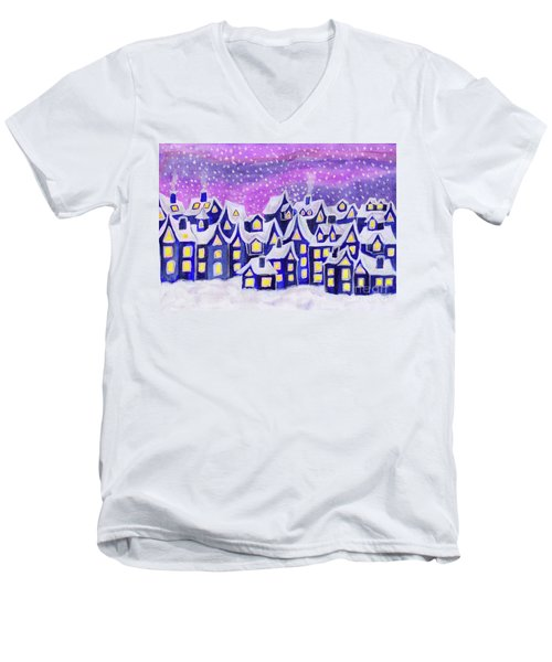 Dreamstown Blue, Painting Men's V-Neck T-Shirt by Irina Afonskaya