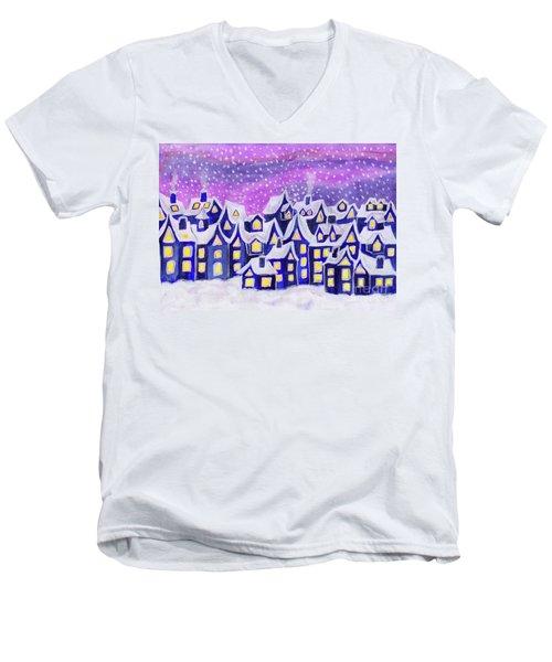 Dreamstown Blue, Painting Men's V-Neck T-Shirt