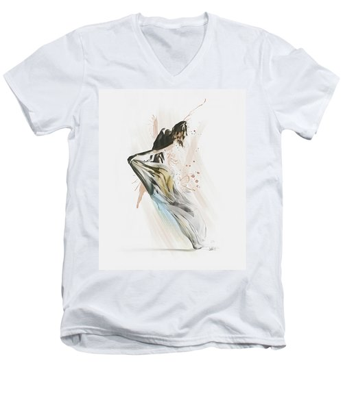 Men's V-Neck T-Shirt featuring the digital art Drift Contemporary Dance by Galen Valle