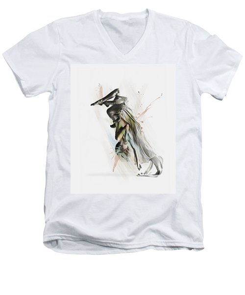 Men's V-Neck T-Shirt featuring the digital art Drift Contemporary Dance Two by Galen Valle
