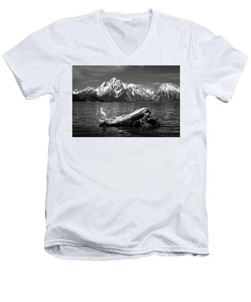 driftwood and Mt. Moran Men's V-Neck T-Shirt