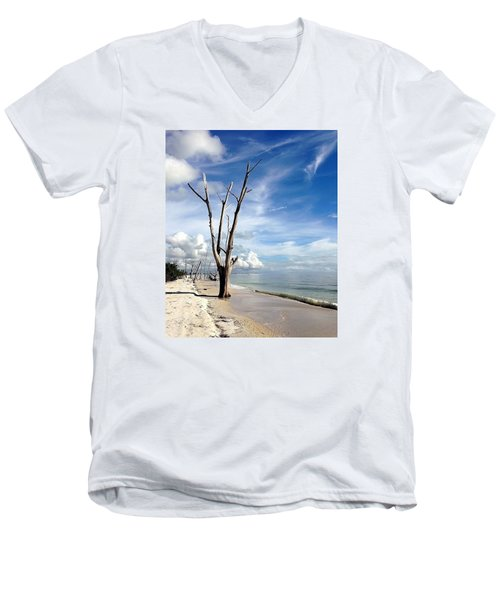 Men's V-Neck T-Shirt featuring the photograph Driftwood At Lovers Key State Park by Janet King