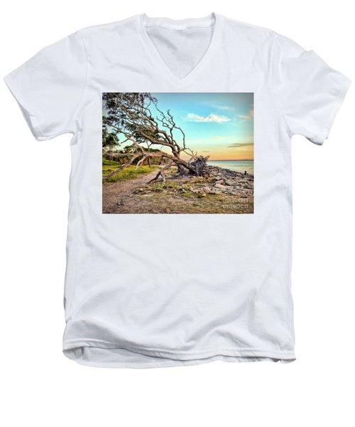 Driftwood Beach Morning 2 Men's V-Neck T-Shirt