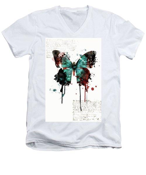 Dripping Butterfly Men's V-Neck T-Shirt