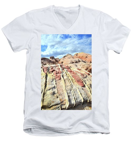 Dripping Color In Valley Of Fire Men's V-Neck T-Shirt by Ray Mathis
