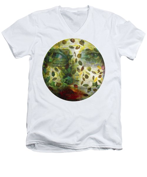 Men's V-Neck T-Shirt featuring the painting Dripping Souls by Alfredo Gonzalez