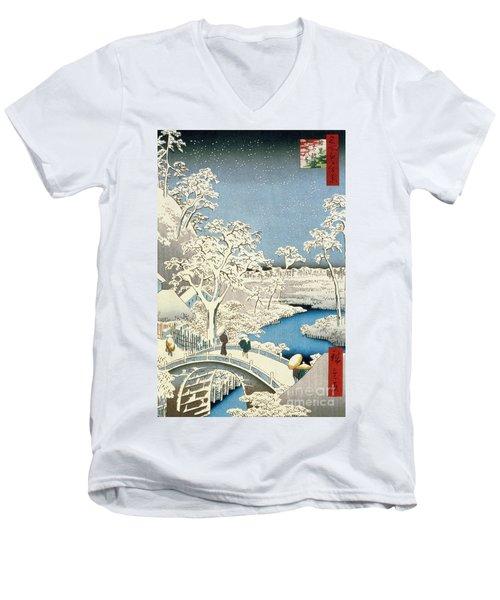 Drum Bridge And Setting Sun Hill At Meguro Men's V-Neck T-Shirt
