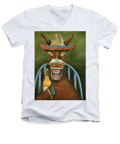 Men's V-Neck T-Shirt featuring the painting Drunken Dumb Ass by Leah Saulnier The Painting Maniac