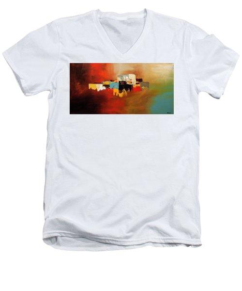 Men's V-Neck T-Shirt featuring the painting Du Soleil by Carmen Guedez