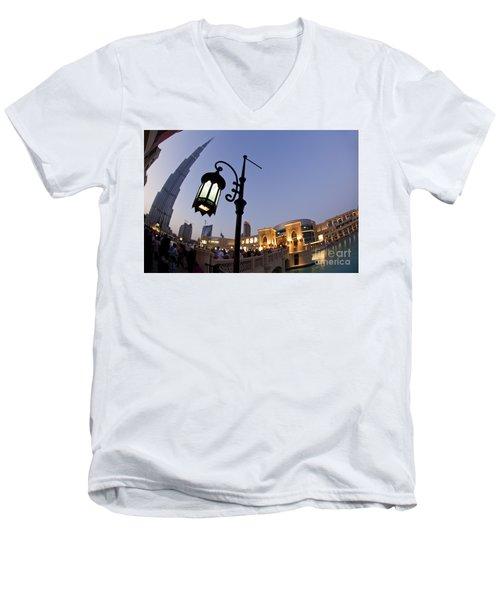 Men's V-Neck T-Shirt featuring the photograph Dubai Burj Khalifa by Juergen Held